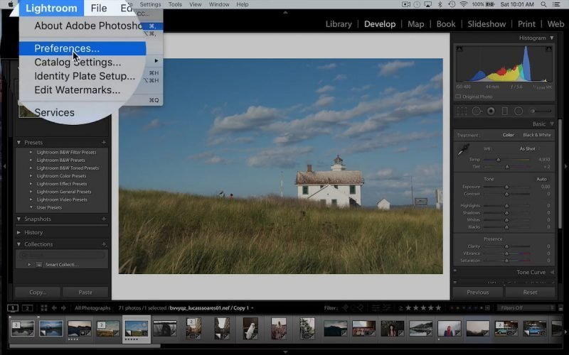 Finding the Lightroom Preferences window in order to install and find the lightroom presets folder