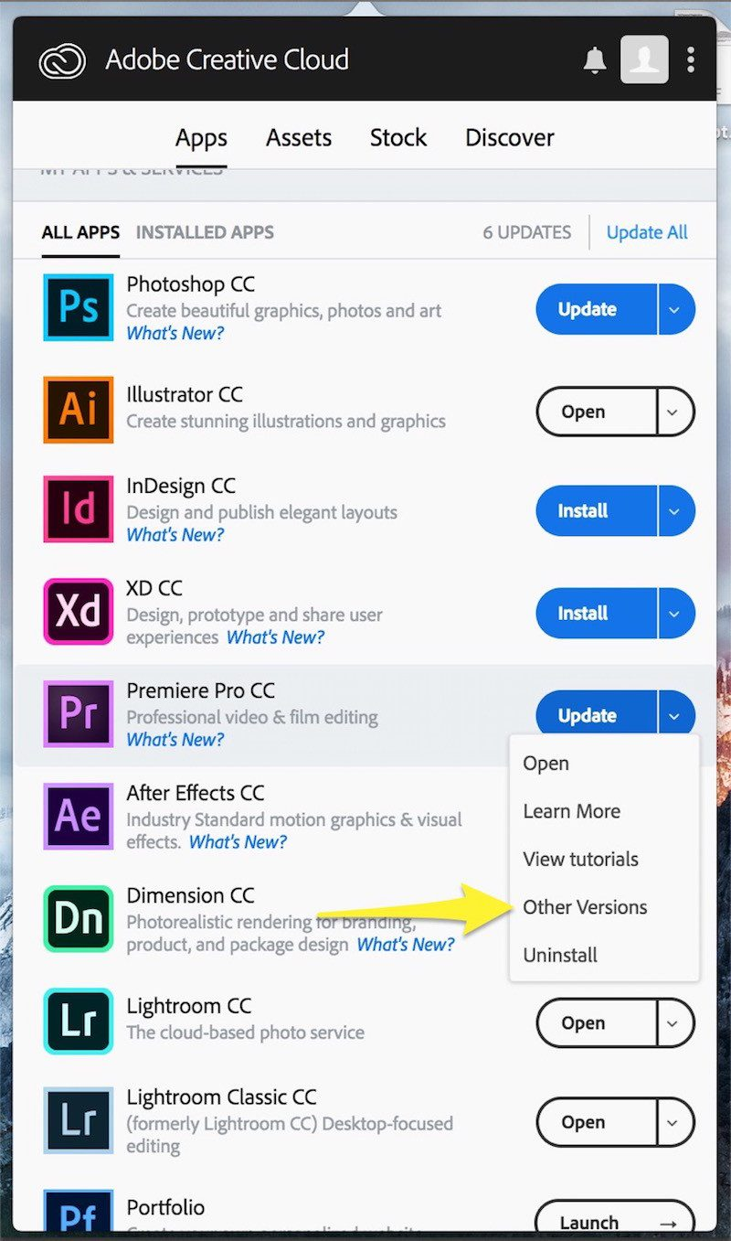 using adobe creative cloud to load other versions of the app you want to downgrade - How To Install A Previous Version Of Any Creative Cloud Application