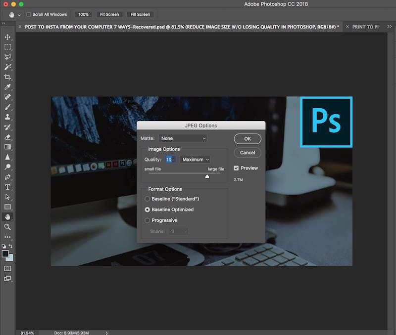 how to reduce image size without losing image quality in photoshop