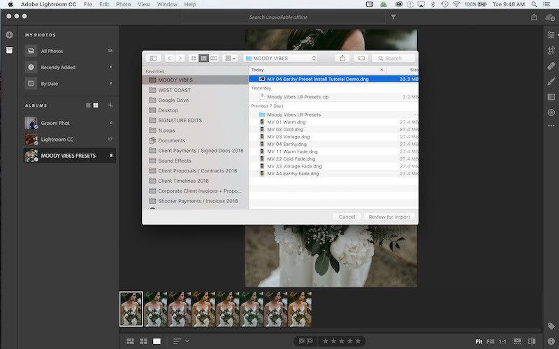 how to add lightroom presets to your smart phone step 7 - import your dng files